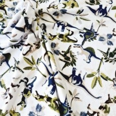 Minky Dinosaurs Fabric in White