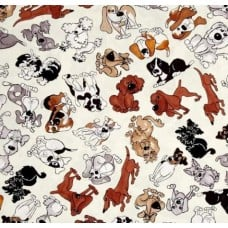 Scattered Dogs Cotton Fabric