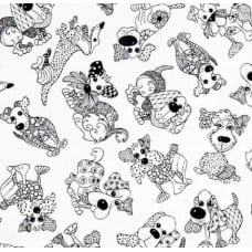 Scattered Black and White Dogs Cotton Fabric