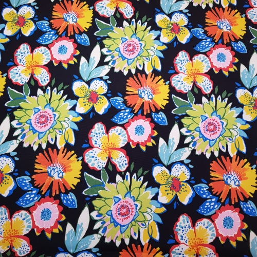 Cockerels Are Scattered All Over This Fabric Made From: Tropical Scattered Flowers Outdoor Fabric On Black