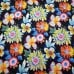 Tropical Scattered Flowers Outdoor Fabric on Black Fabric Traders