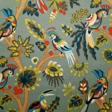 Bird Life in Grey Indoor Outdoor Fabric