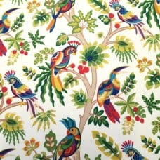 Bird Life in Ivory Indoor Outdoor Fabric