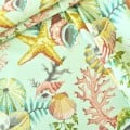 Tropical Water Shells in Teal Outdoor Fabric by Swavelle Mill Creek