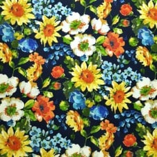A Flower Display Indoor Outdoor Fabric on Navy Fabric Traders