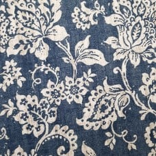 Floral Baltic Design Home Decor Fabrics in Blue and Taupe