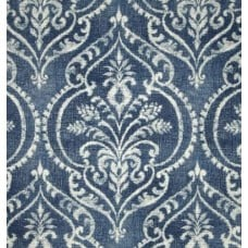 Damask in Bold Motif Blue Cotton Duck Home Decor Fabric