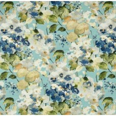 Floral Sprays Luxe Home Decor Cotton Fabric in Blue