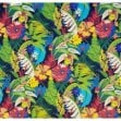 Tropical Garden Flowers Outdoor Fabric in Black