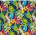 Tropical Garden Flowers Outdoor Fabric in Black Fabric Traders