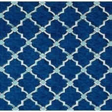 Classic Drawn Wrought Iron Indoor Outdoor Fabric in Blue