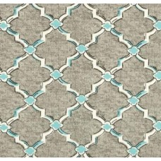 Classic Drawn Wrought Iron Indoor Outdoor Fabric in Grey