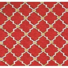 Classic Drawn Wrought Iron Indoor Outdoor Fabric in Red