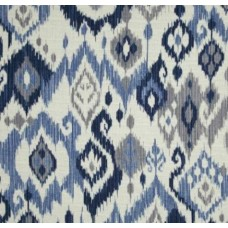 REMNANT - Ikat Whimsical Home Decor Fabric in Blue Fabric Traders