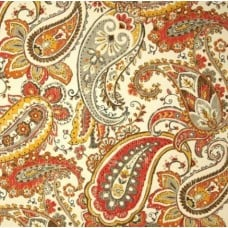 Bold Paisley Indoor Outdoor Fabric in Mandarin