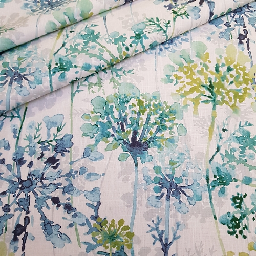Modern floral in sea green luxe cotton home decor fabric for Modern home decor fabric