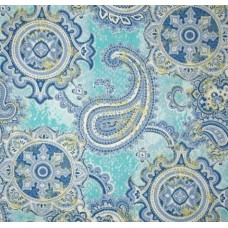 Paisley Delights Indoor Outdoor Fabric in Blue Fabric Traders
