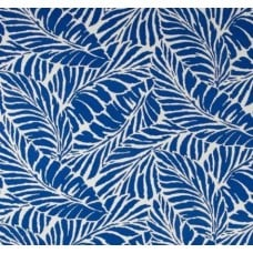 Tropical Leaf Silhouette Indoor Outdoor Fabric in Blue