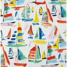 Boats in the Marina Outdoor Fabric in Ivory