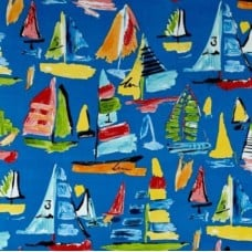 Boats in the Marina Outdoor Fabric in Blue