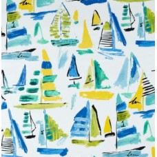 Boats in the Marina Outdoor Fabric in White