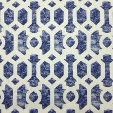 Geometric Repeat Indoor Outdoor Fabric In Blue and Ivory