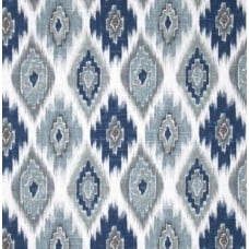 Ikat Diamond Sapphires Cotton Home Decor Fabric in Blue
