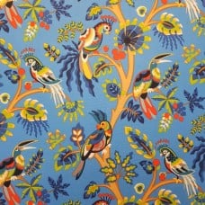 Bird Life in Blue Indoor Outdoor Fabric