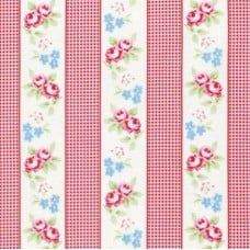 REMNANT - Rose and Gingham Ticking in Red Cotton Fabric by Tanya Whelan 1
