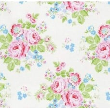 Rose Bouquet in White Cotton Fabric by Tanya Whelan