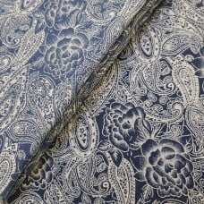 Denim Stretch Paisley Cotton Blend Fabric in Blue