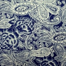 Denim Stretch Paisley Cotton Blend Fabric in Dark Blue
