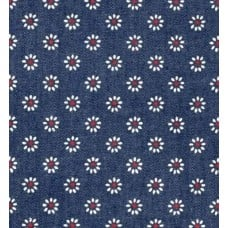 Denim Fabric with White Daisies