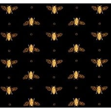 Bee Line Cotton Fabric in Black