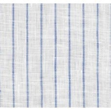 Pinstripe Chambray Linen Fabric in White with Light Blue Fabric Traders