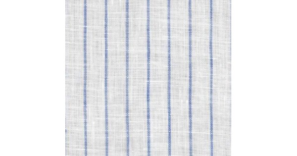 Pinstripe Chambray Linen Fabric In White With Light Blue