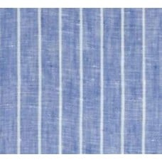 Pinstripe Chambray Linen in Light Blue Fabric Fabric Traders