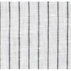 Pinstripe Chambray Linen Fabric in White and Black Fabric Traders