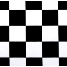 Double Knit Jersey Check Fabric in Black and White