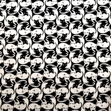 Cats Intertwined in Black and White Cotton Fabric