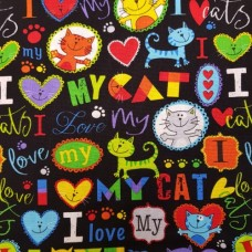 Cat Brite I Love My Cat Cotton Fabric from Timeless Treasures Fabric Traders