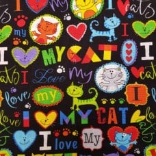 Cat Brite I Love My Cat Cotton Fabric from Timeless Treasures