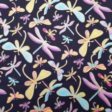 Dragonflies in Metallic Gold Cotton Fabric by Timeless Treasures