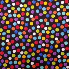 Crayon Dots Cotton Fabric in Black by Timeless Treasures
