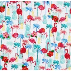 Tropical Flamingos and Pineapples Cotton Fabric by Timeless Treasures Fabric Traders