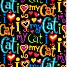 Cats I Love My Cat Cotton Fabric from Timeless Treasures