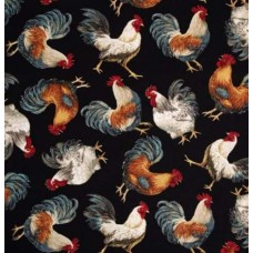 French Country Roosters Cotton Fabric in Balck