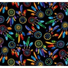 Dreamcatchers Technicolour Cotton Fabric in Black