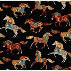 Horses Out West in Black Cotton Fabric by Timeless Treasures
