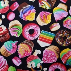 Baked Goods Cotton Fabric in Black